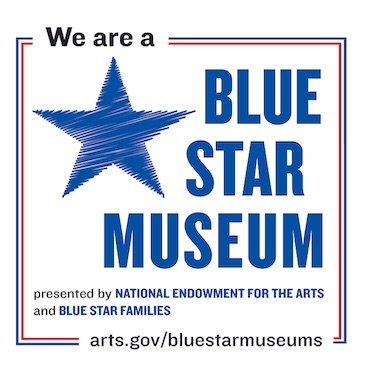 """""""We are a Blue Star Museum"""" logo with National Endowment for the Arts Website - www.arts.gov/bluestarmuseums"""